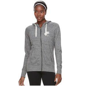 {Nike} sz L gym vintage full zip hoodie in gray